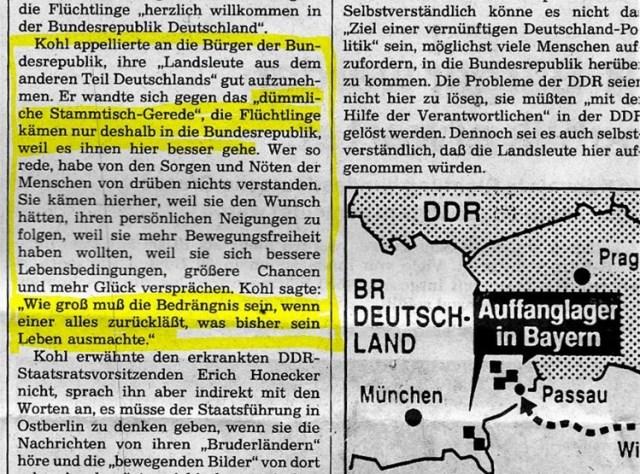 Wirtschaftsflüchtlinge 12.09.1989 Süddeutsche Zeitung