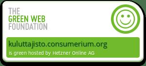 Vihreä merkki, joka kertoo, että kuluttajisto.consumerium.org toimii uusiutuvalla energialla