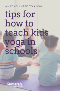 tips for how to teach kids yoga in schools, yoga class in a school with a teacher, kids meditating in a school class