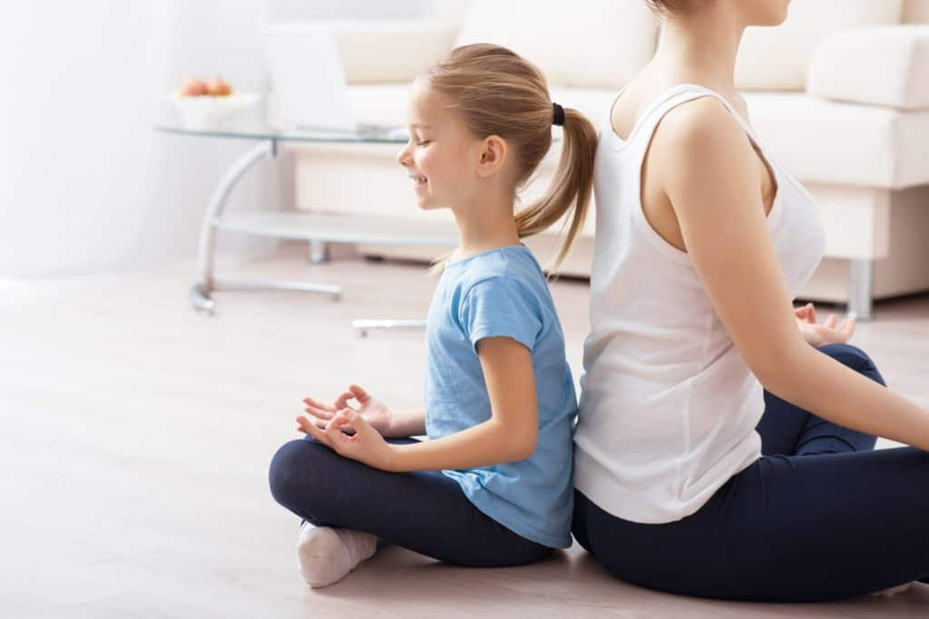 Mindful games, mindfulness for kids, mom and child breathing in yoga pose, mindful meditations, mindfulness for kids, yoga and mindfulness for kids