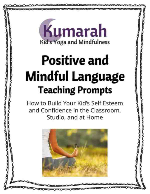 Positive and Mindful Language Teaching Prompts for how to build your kid's self esteem and confidence in the classroom, studio, and at home, a child sits in a yellow field meditating and a butterfly rests on their finger