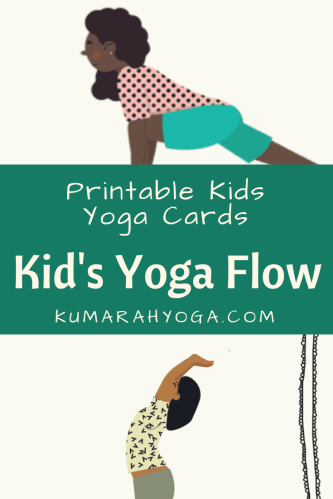Printable kids yoga cards for a yoga flow, a black girl doing low lunge pose and a brown girl doing waterfall pose in printable images for kids yoga cards