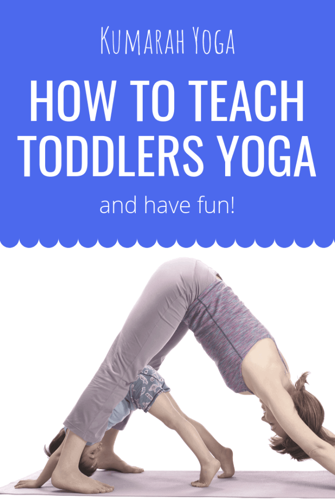 5 things you need to know to teach toddlers yoga and have fun, a mom and her child are doing down dog on a yoga mat