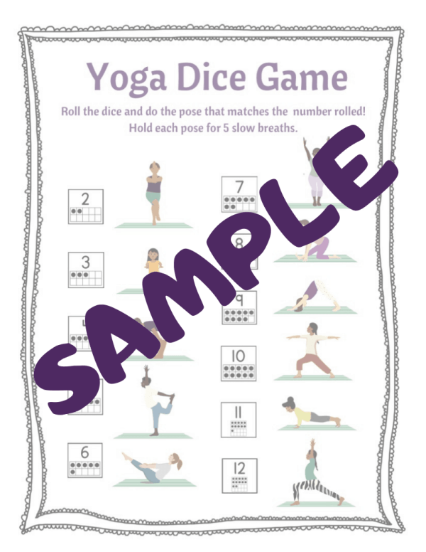 sample of yoga dice game for kids, roll the dice and do the pose that matches the number rolled, print and play yoga game for kids