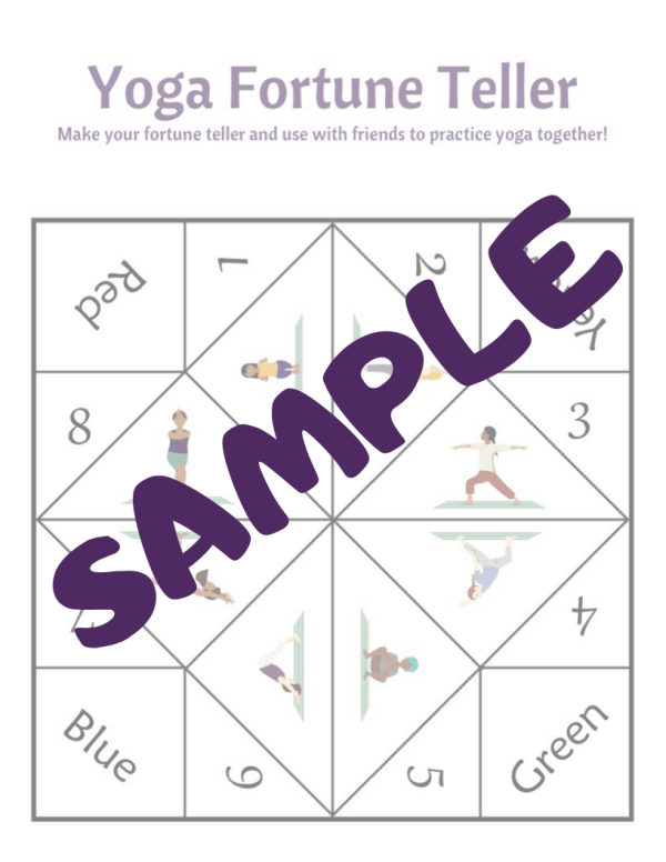 sample of a yoga fortune teller for kids to print and make to play and practice yoga poses with friends