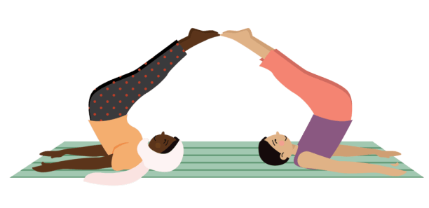 kids partner plow pose for playing game with a ball shoulder stand pass