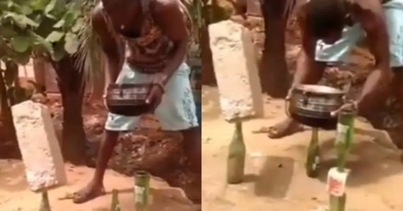 man sets brick and pot standing on bottle