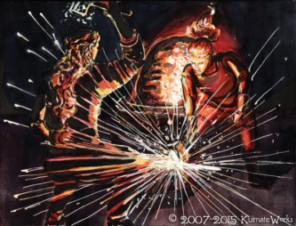 """Sandar & Dorian Forge The Sword"" Illustration from Issue 8, ""Astria Olexa""."