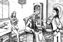 """""""The Wizards Consult""""-Ink Illustration from """"Dorian The Beardless""""."""