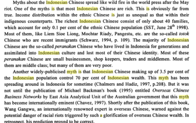 Economic gap Inonesian Chinese