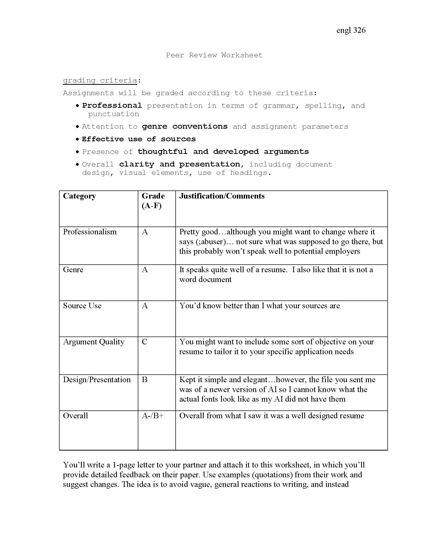 Peer Support Worksheet