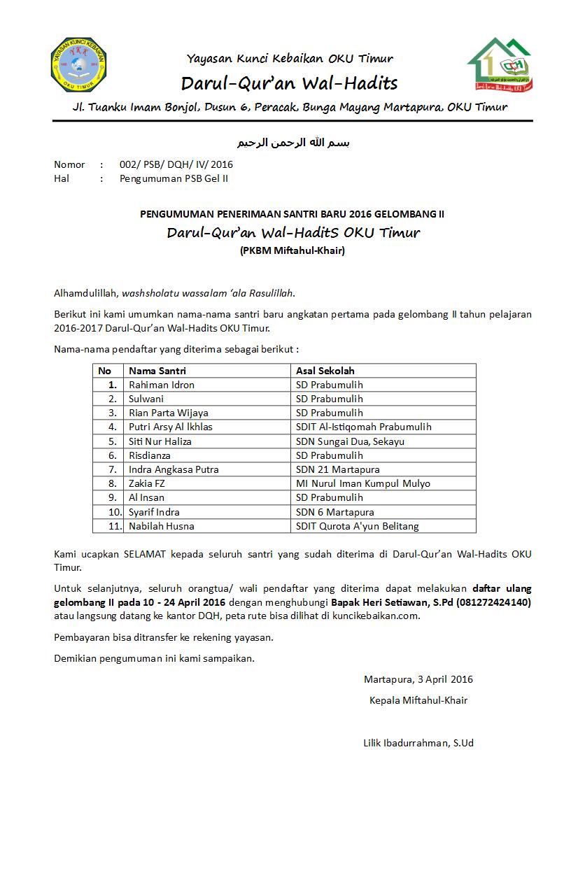 PENGUMUMAN PENERIMAAN SANTRI BARU TAHUN 2016 GELOMBANG II