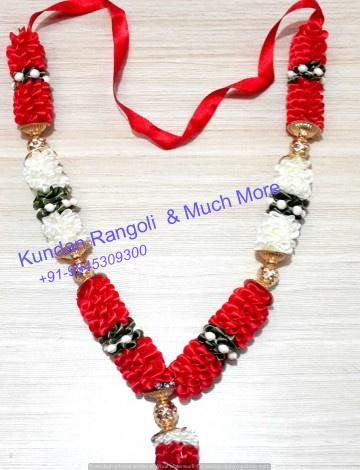 Satin Garland- White ,Red & Golden Beads