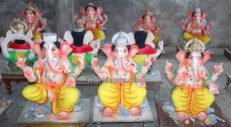 Kundapura ganesh idols makers Vasantha Gudigar made idols has demond in Hydarbad (3)