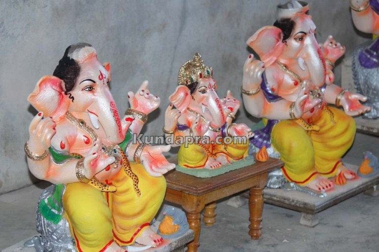 Kundapura ganesh idols makers Vasantha Gudigar made idols has demond in Hydarbad (7)