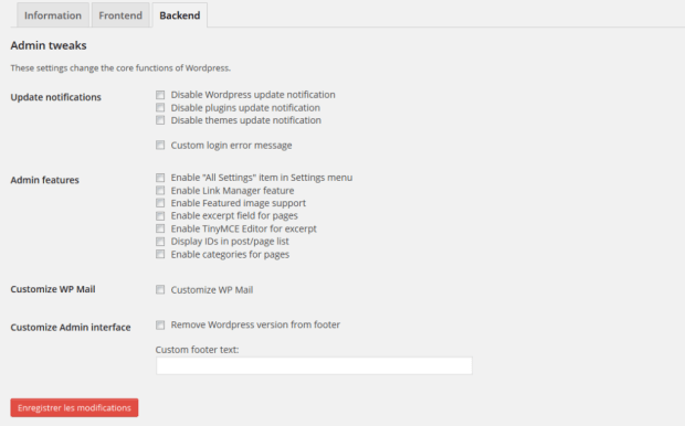 WP Caregiver Settings backend features