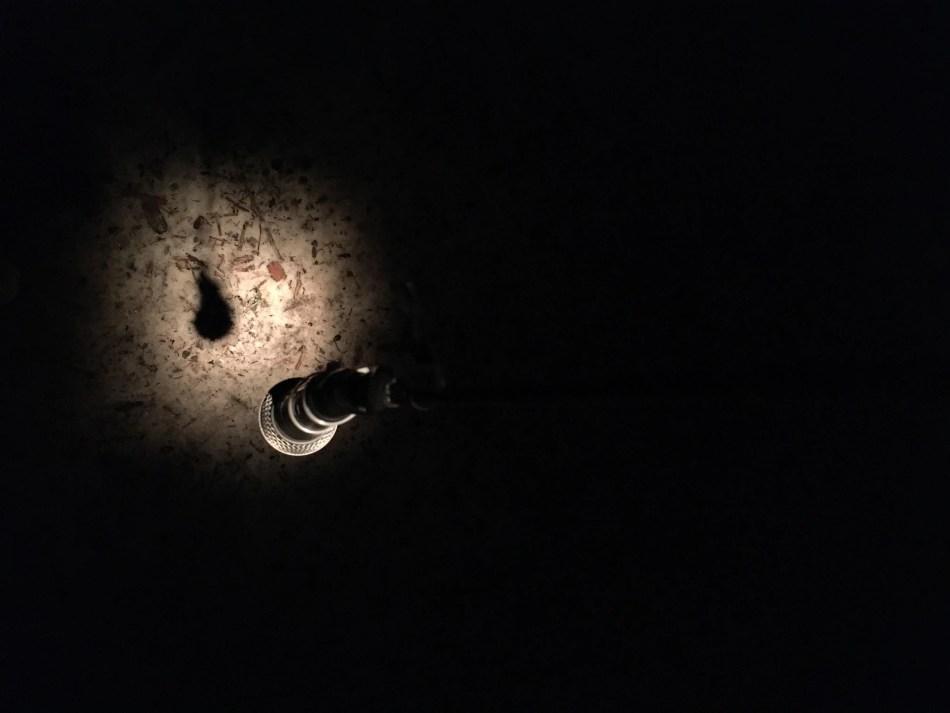 Zu sehen ist ein Mikrofon in einem Lichtkegel.