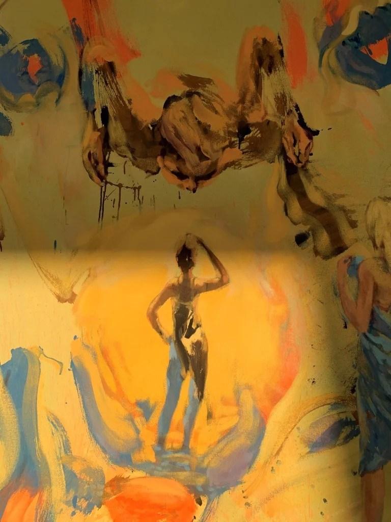Mark Krause: Triptychon mit Fallendem, Detail: Fallender.