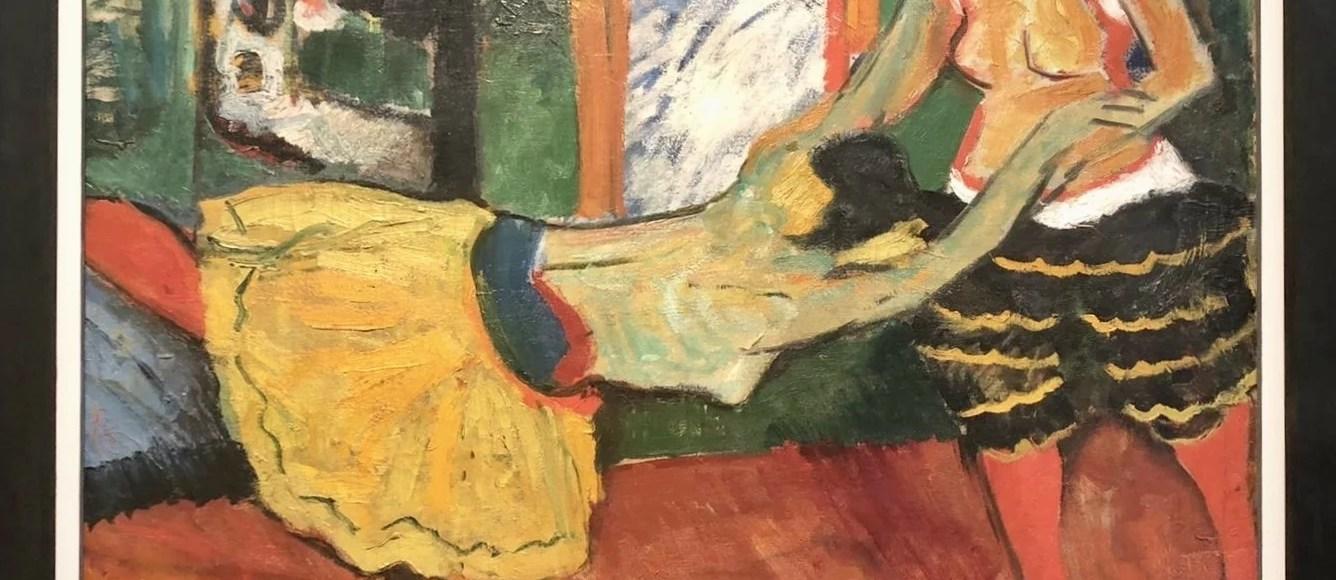 Tanzendes weibliches Paar, expressive Ölmalerei auf Leinwand von Max Pechstein, 1909.