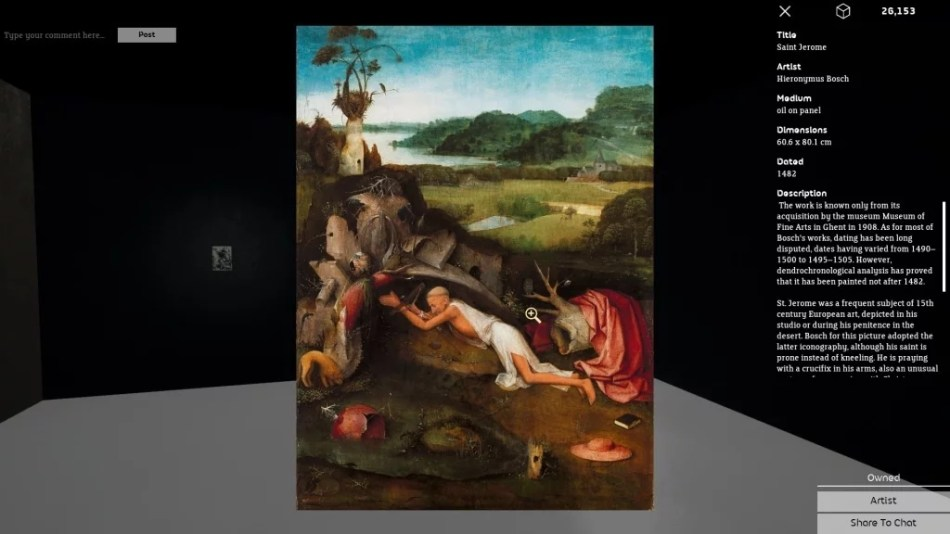 """Occupy White Walls Sceenshot: Funktion """"Closer Look""""; zu sehen ist eine Abbildung des Werks: Hieronymus Bosch, Der heilige Hieronymus, 1482, 60,6 x 80,1 cm, Öl auf Holz"""