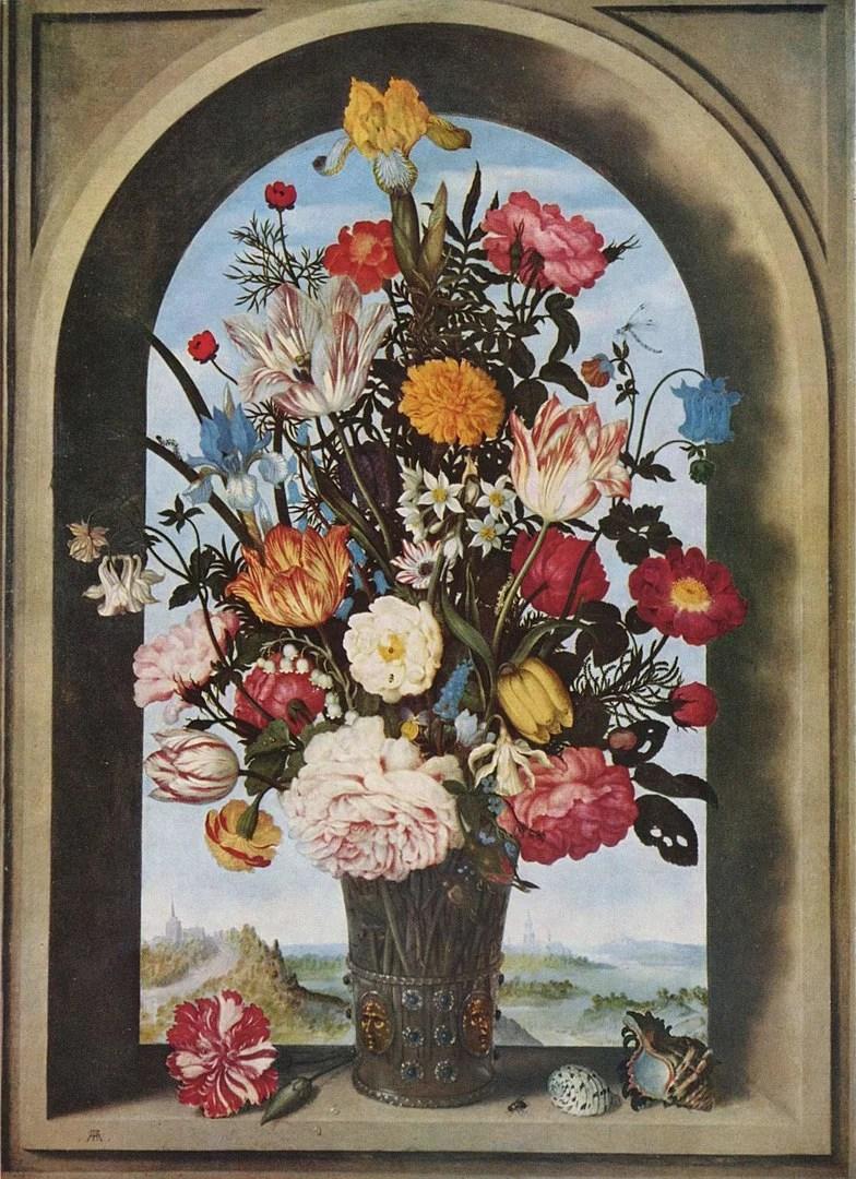 Blumenstillleben Ambrosius Bosschaert d. Ä. mit einer Blumenvase in einer Fensternische, um 1620.