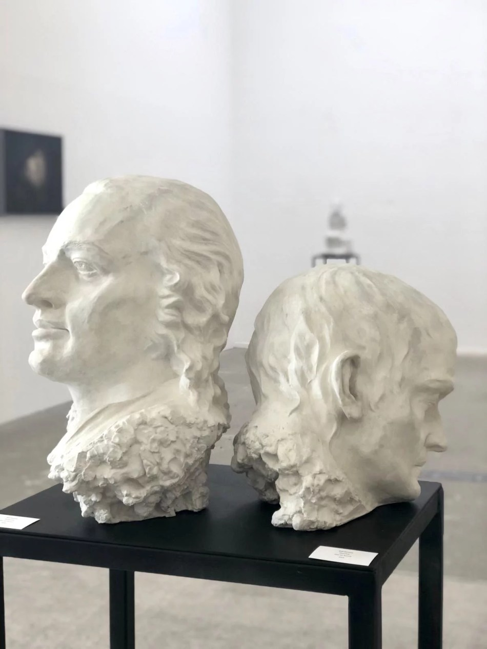 Zwei Portraitbüsten von Ralf Ehmann aus Gips