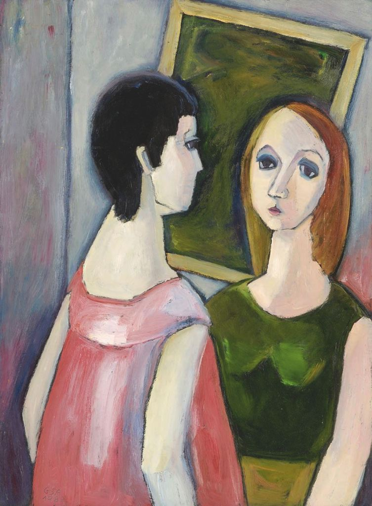 Gude Schaal. Freundinnen, 1982, Öl auf Hartfaserplatte, 86 x 62 cm. © Galerie Reinhold Maas.