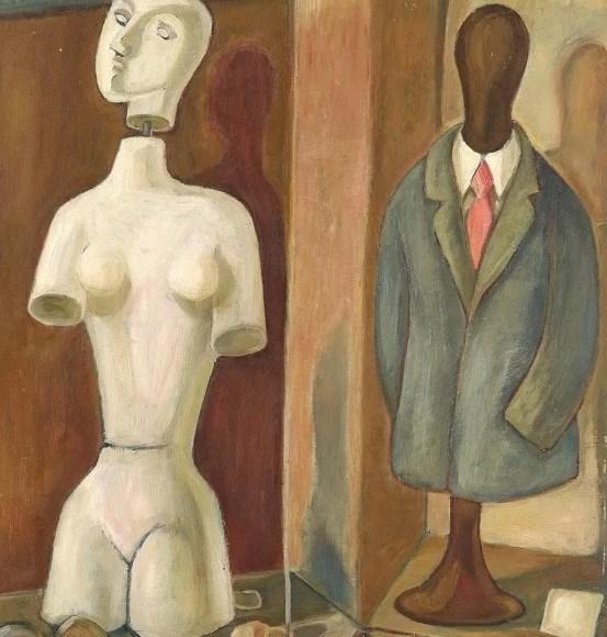 Gude Schaal. Kleiderpuppen im Schaufenster, 1973, Öl auf Hartfaserplatte, 90 x 64 cm. © Galerie Reinhold Maas.