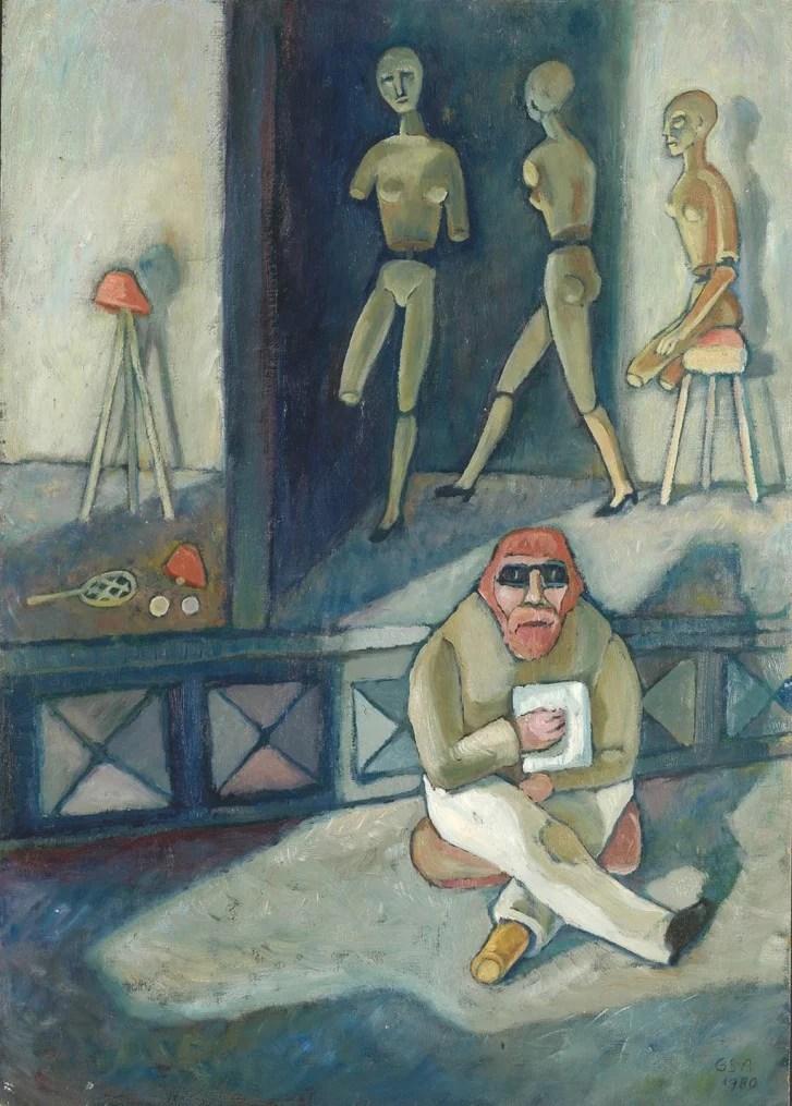 Gude Schaal. Krüppel, 1980, Öl auf Hartfaserplatte, 76 x 54 cm. © Galerie Reinhold Maas.