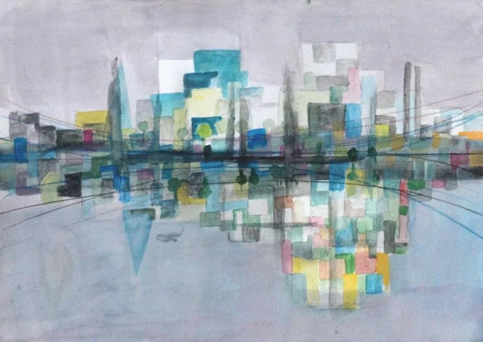Winand Victor. Horizont IV, 2013, Aquarell auf Papier, 34 x 48 cm. © Galerie Reinhold Maas.
