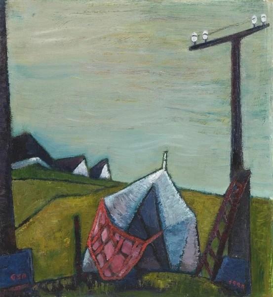 Gude Schaal. Zelt, 1990, Öl auf Hartfaserplatte, 69 x 63 cm. © Galerie Reinhold Maas.