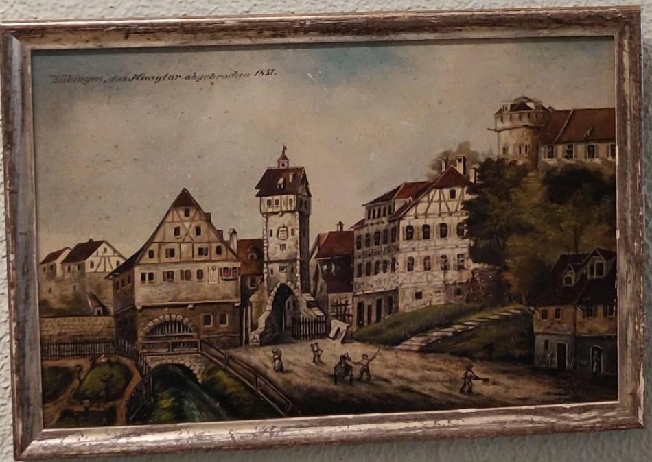 Unbekannte*r Künstler*in. Haagtor in Tübingen. 19. Jahrhundert. Öl auf Karton. © Almalermuseum. Foto: Maik Hanicz.