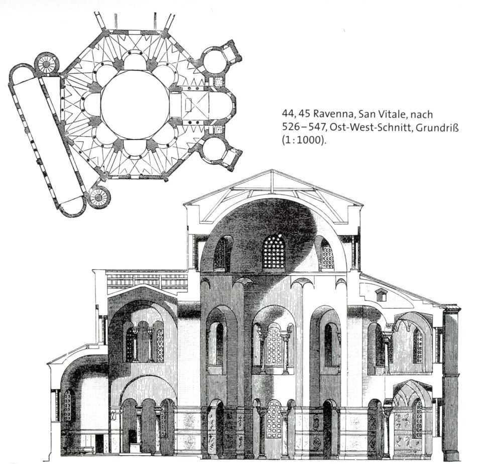 Blick auf einen architektonischen Ost-West Schnitt und einen Grundriss der italienischen Kirche San Vitale in Ravenna in schwarz-weiß.