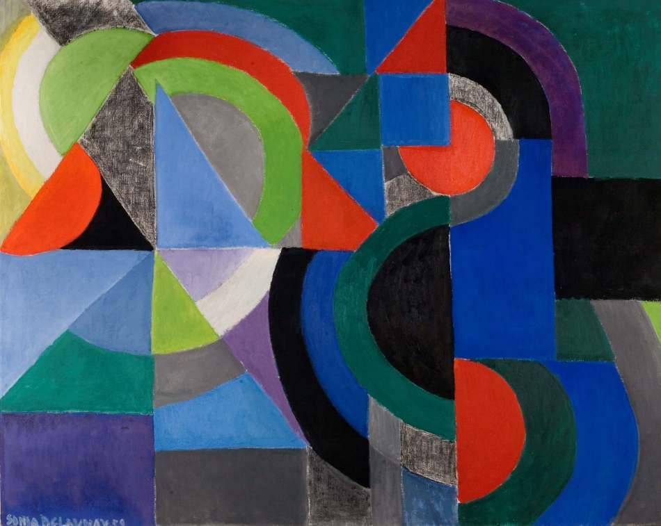 Sonia Delaunay. Rythme Couleur. 1959/60, Öl auf Leinwand, 130 x 162 cm, Kunsthalle Bielefeld. Foto: Philipp Ottensdörfer © Pracusa Artisticas SA