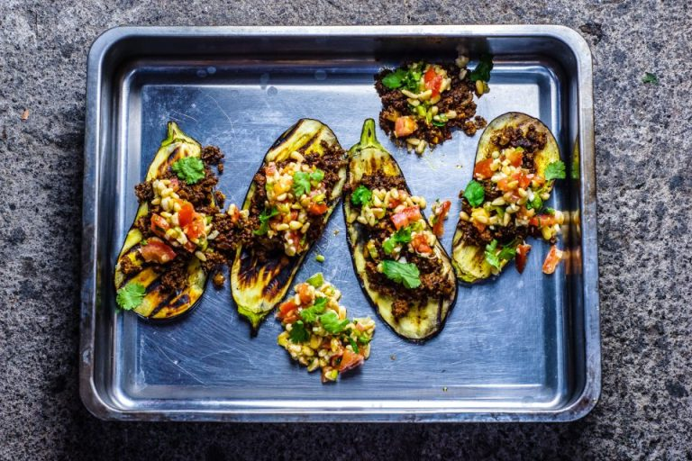 Grilled Aubergine with Lamb Keema and Pine Nut Kachumber