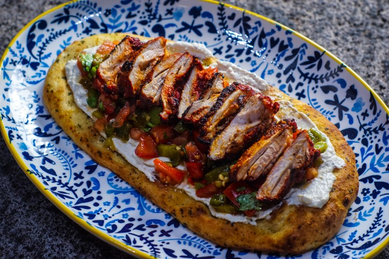 Spiced chicken and baba ganoush