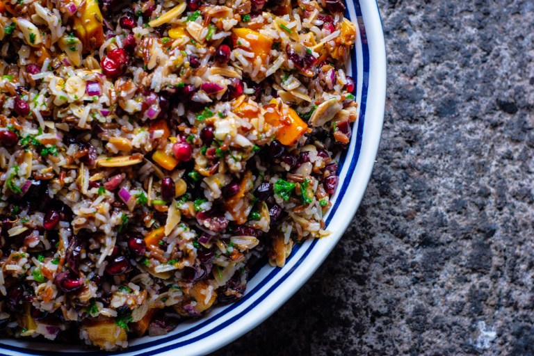 Red & White Rice Salad with Butternut Squash and Pomegrante: