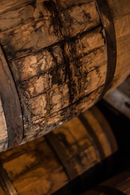 Through the years the liquid seeps through the slats, and evaporates. Sometimes they crack a barrel open and there is nothing inside.
