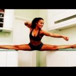 Lauren's elastic-leg homage to Van-Damme!