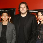 Gareth Evans with Iko Uwais and Julie Estelle at The Raid 2 screening in New York