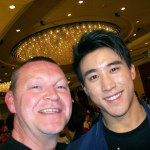 Glen Stanway hanging out with Asian singing star and New Seven Little Fortune, Yi Yang (Jerry Liau) at Jackie Chan's birthday party