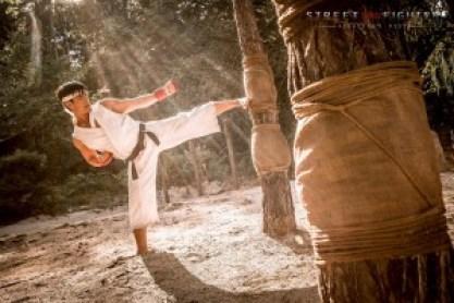 Ryu training midst the light rays