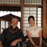 Togo Igawa (Master Gotetsu) shares a smile with Hyunri (Sayaka)