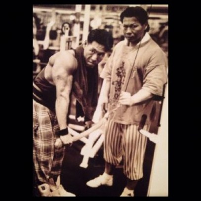 David working his bulging triceps -while father Bolo watches on!
