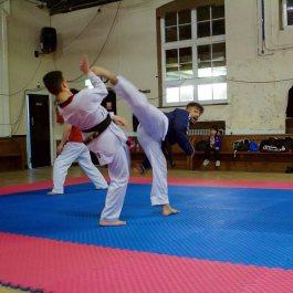 A swift spinning back kick