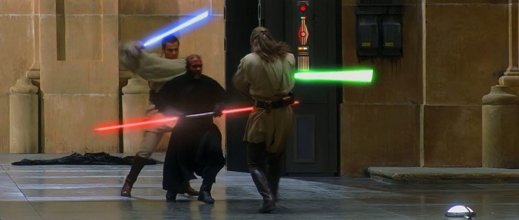 Park's training in 2 and 3 person routines was perfect for his final lightsaber battle
