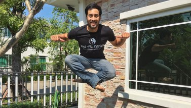 Kazu jumps for joy in his KFK shirt -get yours now!