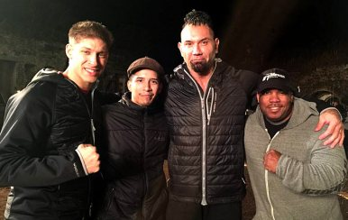 Larnell on the set of Kickboxer Vengeance