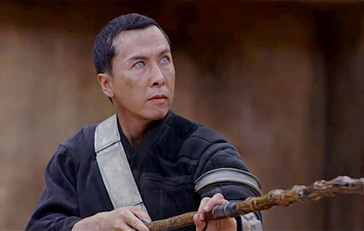 Donnie stars as Chirrut +mwe -a blind philosophical warrior