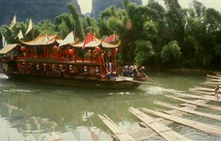 The action ignites on the villain's barge